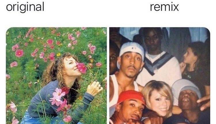 Mariah Carey songs original vs remix meme