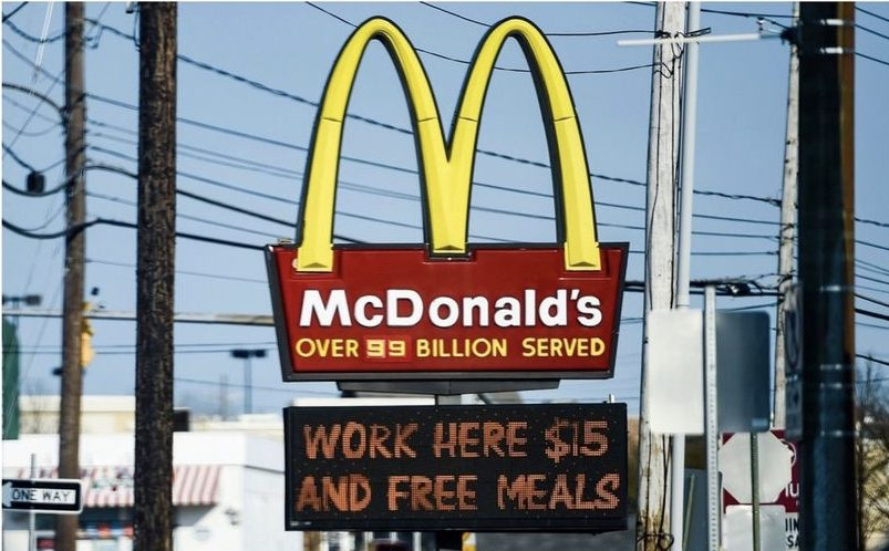 McDonald's work here $15 and free meals sign