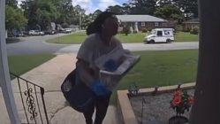 Postal worker trips up steps