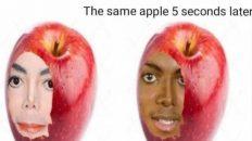 Apple when you bite it vs the same apple 5 seconds later meme