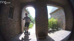 Door to door salesman falls off hoverboard