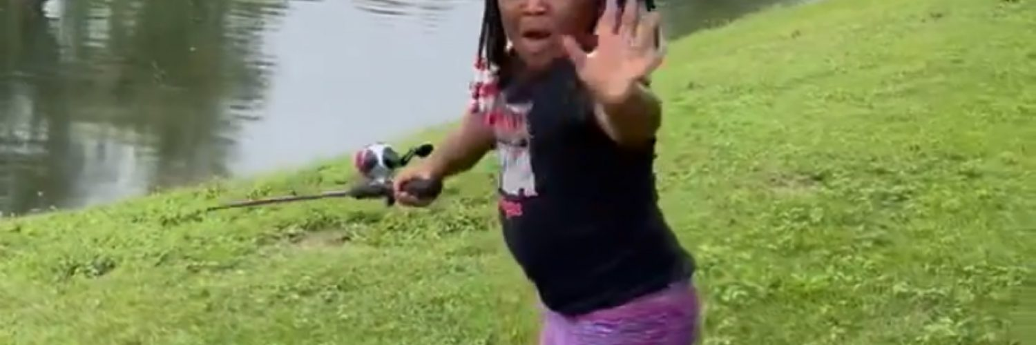 Grandaughter fishes with grandpa for first time
