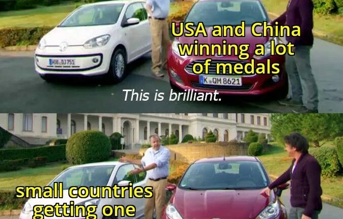 USA and China winning a lot of medals vs small countries getting one bronze