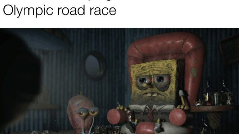 Me at 4 AM trying to watch the Olympic road race Spongebob Squarepants meme