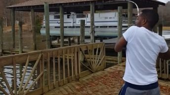 Man catches large catfish