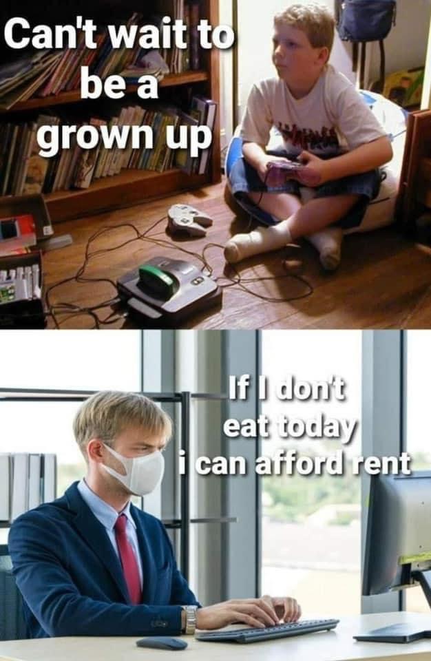 Can't wait to be a grown up vs if I don't eat today I can afford rent meme