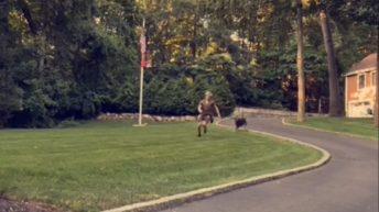 UPS man runs from dog