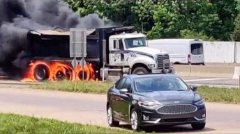 Dump truck burns on fire