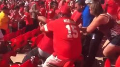 Kansas City Chiefs fans fight in the stadium