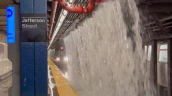 New York subway operating in flood