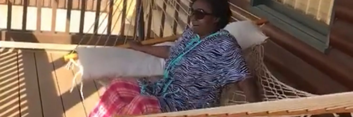 Woman falls out of a hammock