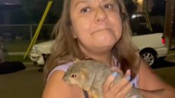 Hispanic mother with pet squirrel