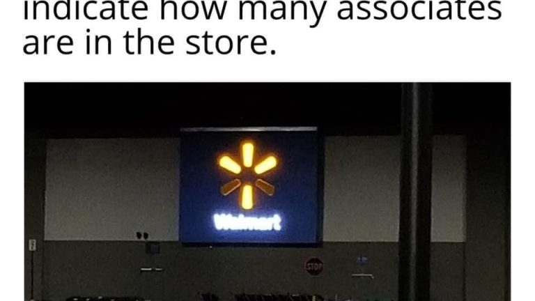 The lights in the spark indicate how many associates are in the store Walmart meme