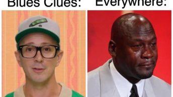 Steve from Blues Clues vs 90s kids everywhere Michael Jordan crying meme