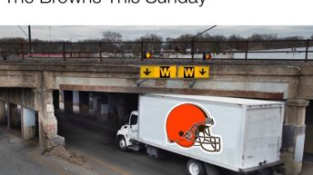 The Browns this Sunday truck hitting low bridge meme