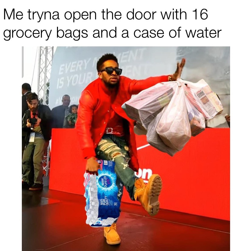Me tryna open the door with 16 grocery bags and a case of water Omarion meme