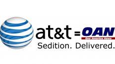 AT&T sedition equals OAN delivered meme