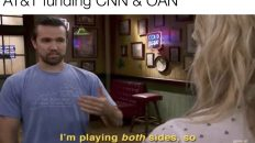 AT&T funding CNN & OAN meme