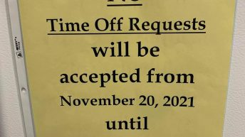 No time off requests will be accepted from November to January 2022